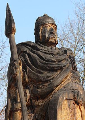 A figure of a Celt made of wood